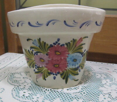 Vintage Hand Painted Floral Wall Pocket Planter Pink Blue Lavender Flowers (Hand Painted Lavender Planter)