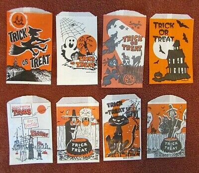 8 vtg Halloween Paper Trick or Treat Candy Craft Bags Lot Black Cat Witch Ghost