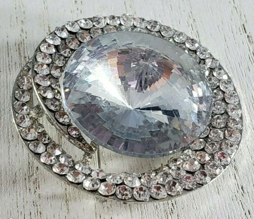 Vintage Brooch Pin Silver Tone STATEMENT Icy Rhinestone BOLD Spiral Tiered