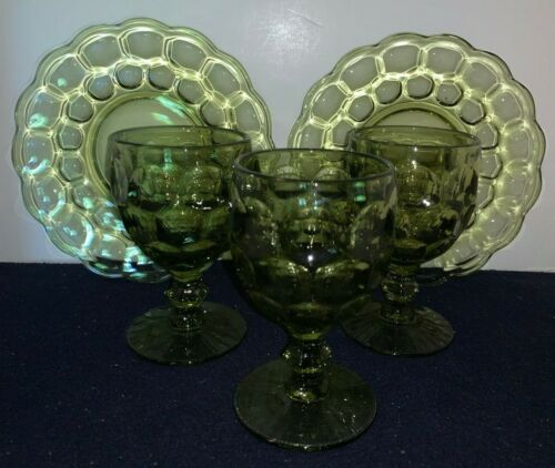 (5-Pieces) Imperial Glass PROVINCIAL (Thumbprint) Green GOBLETS and SALAD PLATES