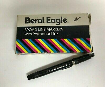 Lot Of 12 Vintage Nos Berol Eagle Broad Line Black Markers Wpermanent Ink