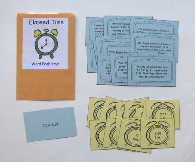 Teacher Made Math Center Resource Game Elapsed Time Word Problems Elapsed Time Game