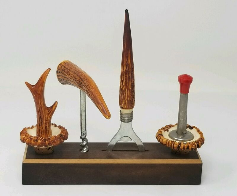 Vintage Resin Stag Horn Barware Set - Wood Stand