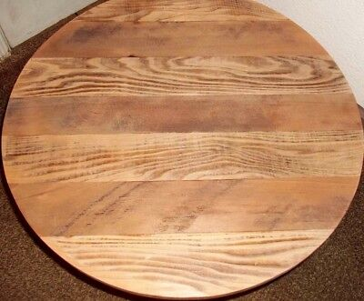 Round Rustic Solid Reclaimed Barn Wood 30 Deli Bar Pub Table Top Restaurant