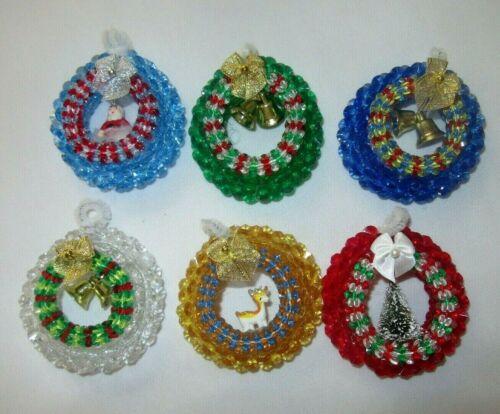 Vintage Handmade Christmas Beaded Kitsch BOHO Santa Deer Wreath Tree Ornaments 6