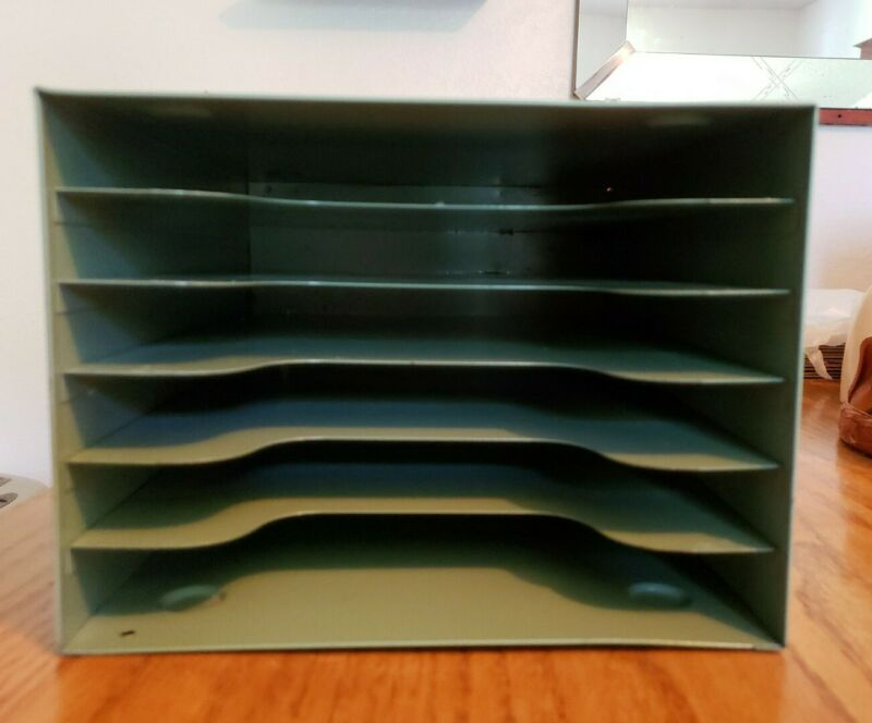 VINTAGE INDUSTRIAL GREEN  METAL DESK PAPER ORGANIZER 6 TRAY MID- CENTURY~AWESOME