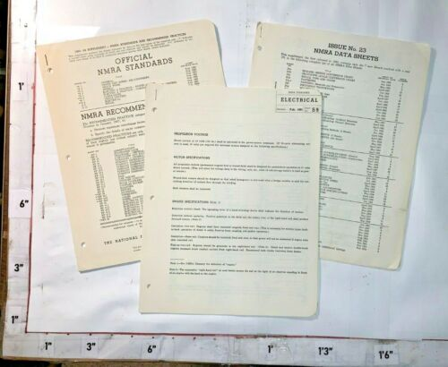 1960s NMRA Standards/Supplements Electric Track Turnouts Stenciling Data Sheets
