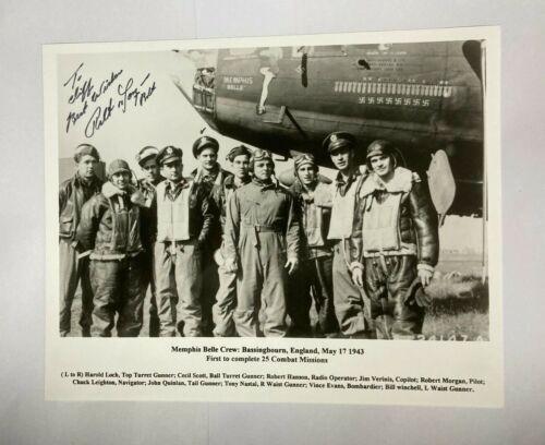 "Authentic World War II Memphis Belle Crew 8"" X 10"" B & W PHOTO W/Pilot Signature"