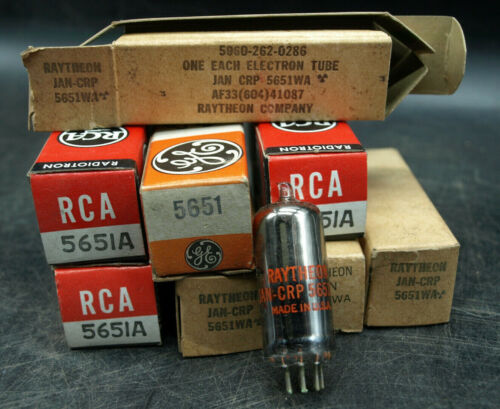 RAYTHEON GE 5651A JAN CRP 5651WA RCA ELECTRON TUBE New in Box NOS LOT OF 8 (S3)