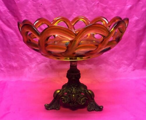 Antique Lace Amber Glass & Brass Compote Pedestal Fruit Dish Bowl - Rare!