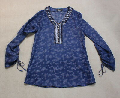 PRINCESS GOES HOLLYWOOD Bluse 34 36 Palmen Pusteblumen SEIDE 100% blau lila TOP