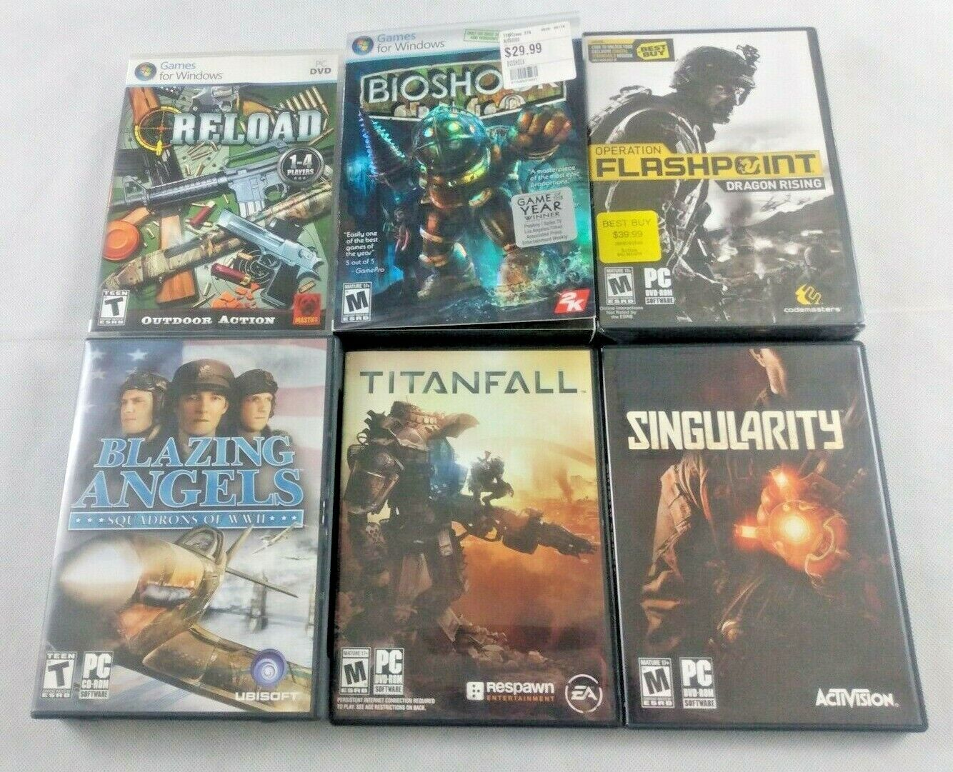 Computer Games - Lot Of 6 PC Computer Games Tested Working Bioshock Titanfall Reload Singularity