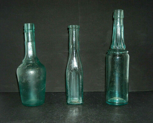Three (3) Small Early Pepper Sauce Bottles