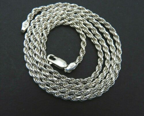 """Vintage Chain Twist Rope 3mm Italy Jewelry Fancy Solid 925 Sterling Silver 24"""""""