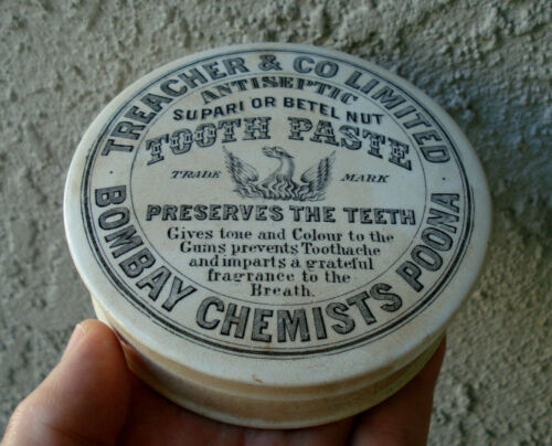 Antique,ORIGINAL (ca 1890) underglaze-advertised IndianTooth Paste Jar pot lid
