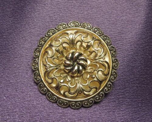 Filigree Ornate Flower Vintage Scarf Brooch Clip Marked W Germany-Silver Tones