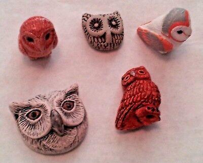 Peruvian Ceramic Wise Brown Grey Owl Bead Single or Lot of Five DIY -