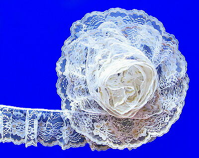 (White/Gold~4 Inch Wide Ruffled Floral Lace Trim~By 5 Yards)