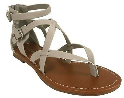 PERFECT! Soda Women's Gladiator Thong Strappy Ankle Strap Flat Sandals Ankle Strap Flat Thong