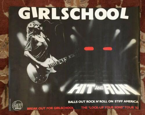 GIRLSCHOOL  Hit And Run  rare original promotional poster