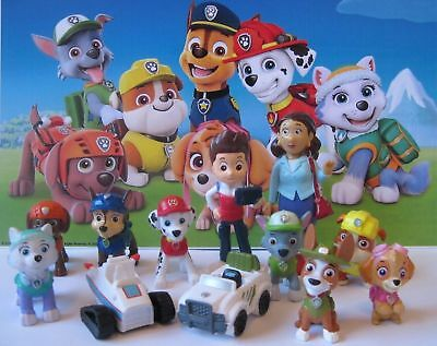 New 12 pcs PAW PATROL Figures Playset Cake Topper Tracker Everest Mayor Vehicles