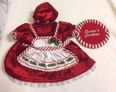 Build A Bear Red Christmas Dress Ms Claus Outfit Hat Bonnet Santa Cookie Set - Ms Clause Outfit