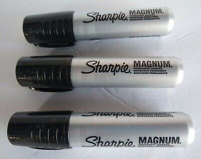 Sharpie Magnum Oversized Permanent Markers Black Chisel Tip Lot Of 3
