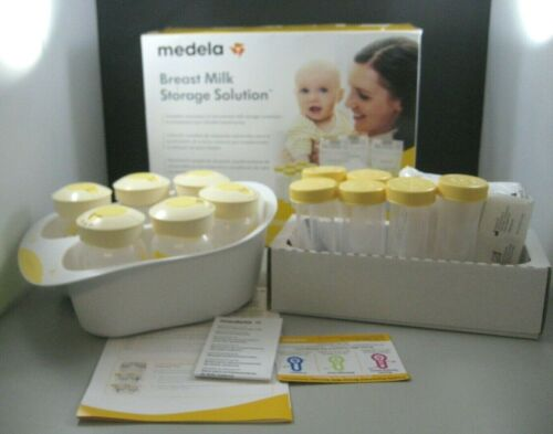 Medela Breast Milk Storage Solution Set Bags Bottles Tray New in Open Box