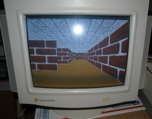 Packard Bell CRT Monitor 14'' Inch Model 1020 Vintage with Speakers VGA