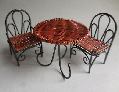 DOLLHOUSE MINIATURE ~ DECORATIVE BLACK METAL TABLE & CHAIR  SET ~ RETIRED for sale  Shipping to India