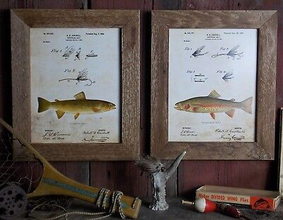 Fly Fishing Trout Prints - Fly Fishing Patent Art Prints (Set of 2) 8x10 Unframed Rainbow Brown Trout SET02
