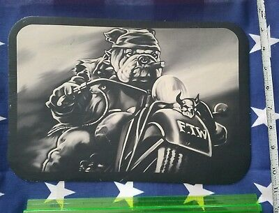 LARGE 100% leather Outlaw Motorcycle BULLDOG FTW sew on biker BACK PATCH