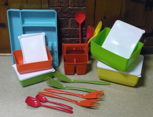 Vintage MELAMINE Colorful Kitchen Lot - USA - Denmark - Utensils / Containers