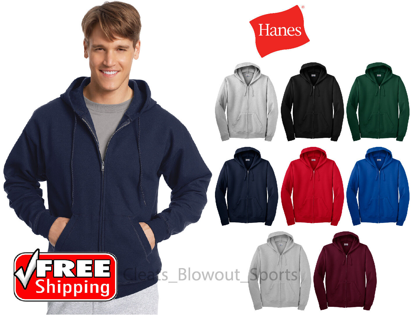 Hanes Full Zip Hoodie Cotton Blend Zipper Mens Hood Sweatshi