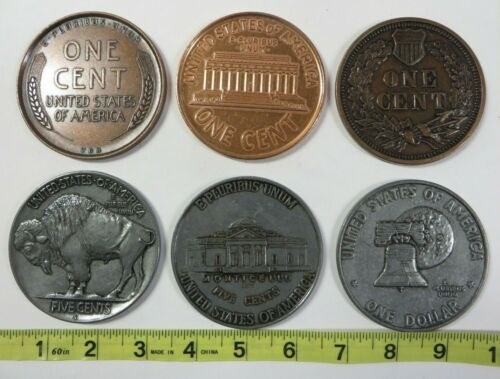 """Vintage 3"""" LARGE NOVELTY COINS Paperweight Coaster Penny Nickel Dollar Lot #3"""