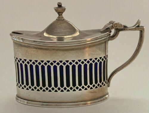 JBC & S Birmingham Silver Mustard Pot with Cobalt Blue Liner