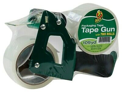 Duck Brand 2 Tape Gun With Foam Handle 2 Pack 55 Yd Clear Packaging Tape New