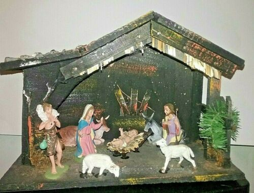 Vintage Italian Nativity Figure Set Christmas Manger Creche Made in Italy