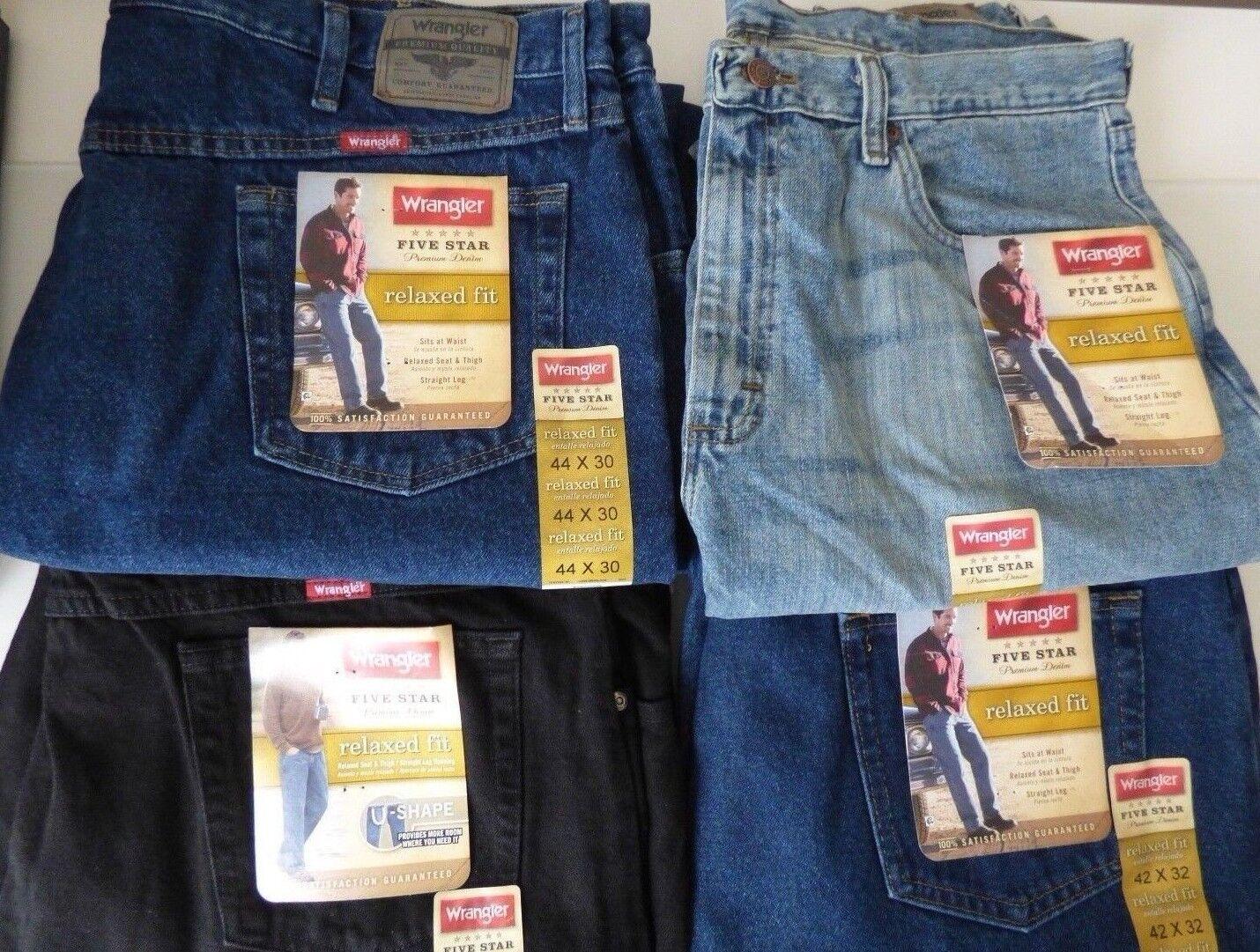 750114e2 Mens Wrangler 5 Star Relaxed Fit Jeans Premium Denim · $29.99 · Jeans