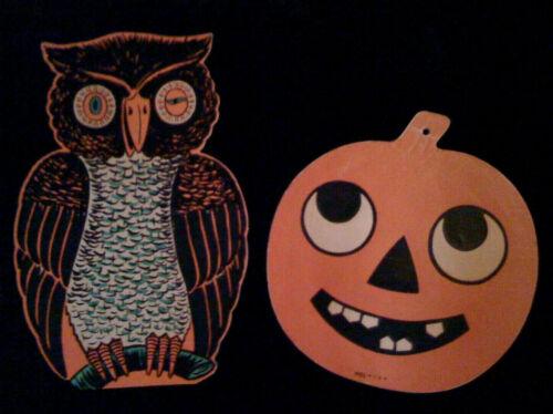 Vintage Halloween Die Cut Plaques, Beistle Owl and Jack-O