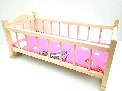 """Wooden toy rocking bed cot crib, dolls toy cradle 20"""" ,with mattress untreated"""