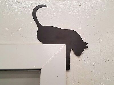 Cat on the door frame metal wall art plasma cut decor gift idea](Door Decoration Ideas)