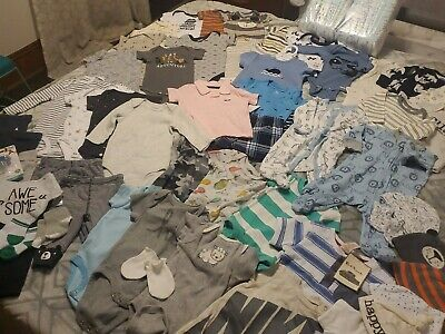 Huge Lot Baby Boy! 54 items: Clothes, diapers, hats, shoes, paci, nwt 0-3 & 3-6