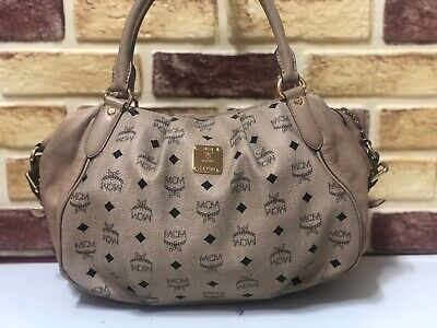 100% Authentic MCM Beige Visetos Hand Bag