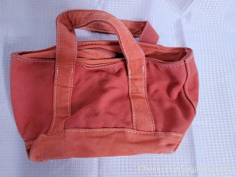 LL Bean Small Orange Canvas Bag / Tote