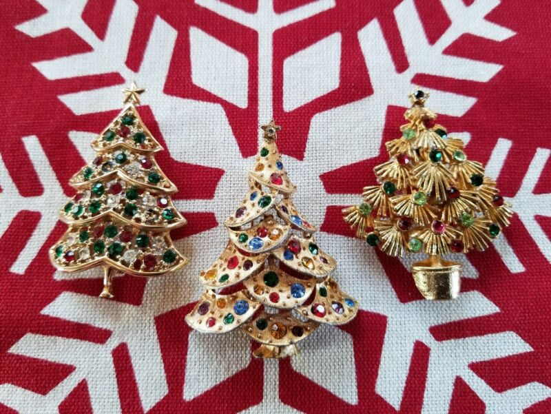 LOT/3 Vintage/Mid-Century Modern CHRISTMAS TREE PINS/Brooch Gold Rhinestones MCM