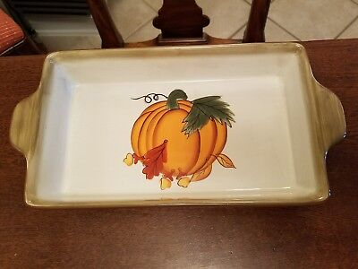 Rectangular Baking Platter - Hausenware Ceramic Rectangular Handle Casserole Baking Dish Pumpkin~Fall Design