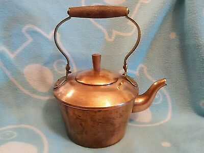 Old Dutch Copper Teapot Kettle Cover Wood Handle Made In Portugal