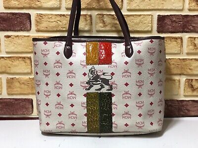 100% Authentic MCM White Visetos Lion Shopper Shoulder Bag