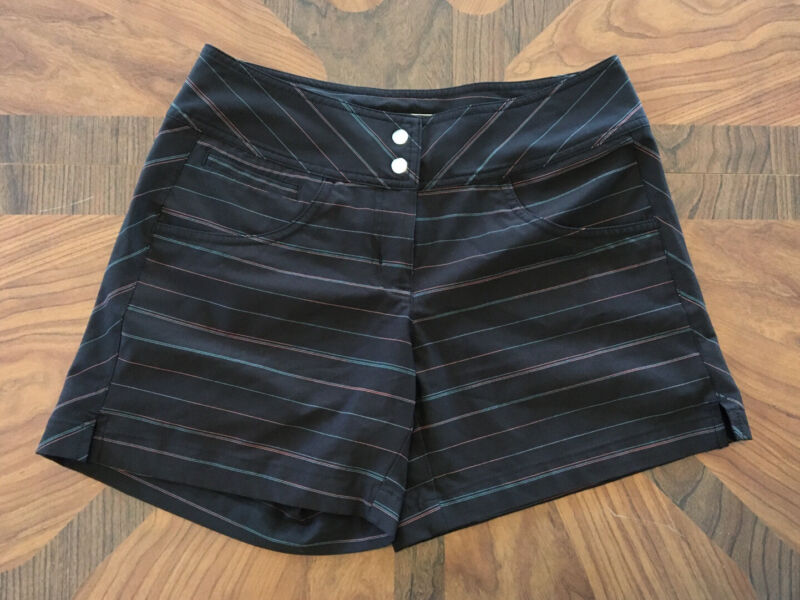 Womens Slazenger Golf Shorts Black Pink Blue Stripes Size 0